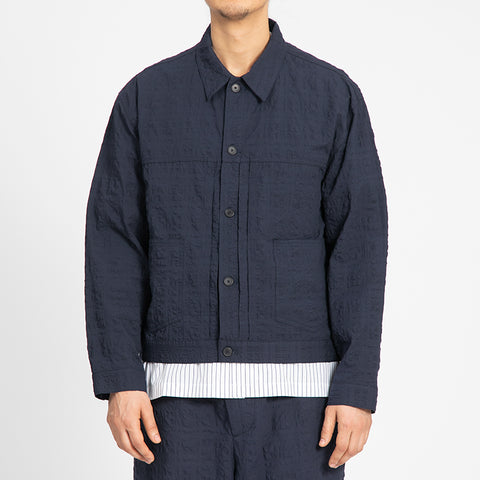 Puckered Navy Blue Type 100 Jacket
