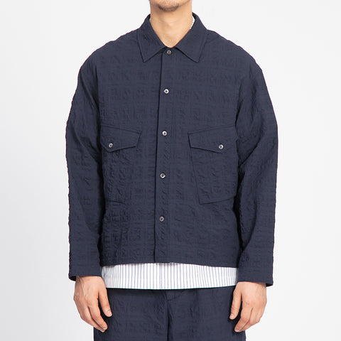Puckered Navy Blue Terra Shirt/Jacket