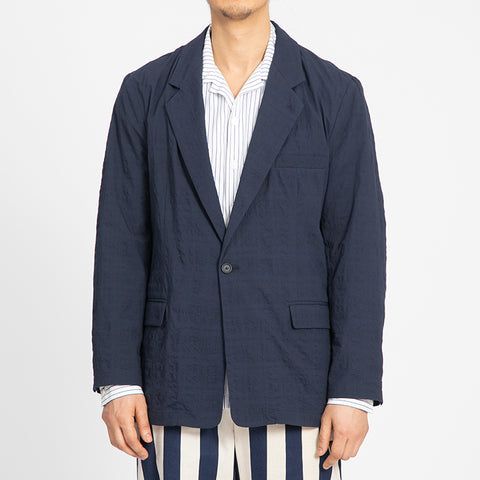 Puckered Navy Blue Julian Blazer