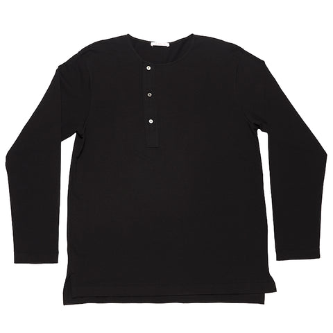 Long Sleeve Henley T-shirt - Black