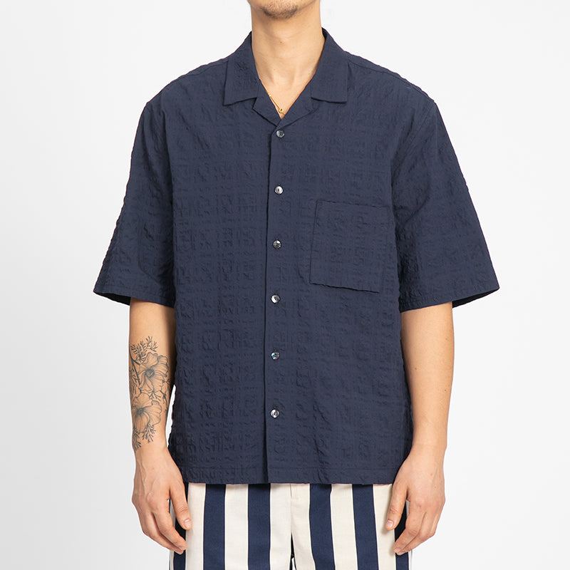 Aloha Shirt - Puckered Navy Blue