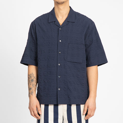 Puckered Navy Blue Aloha Shirt