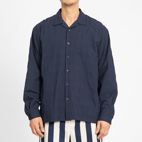 Puckered Navy Blue Shore Shirt