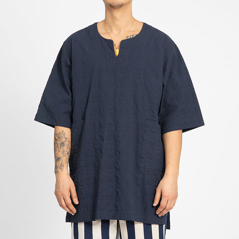 Puckered Navy Blue Oba Shirt