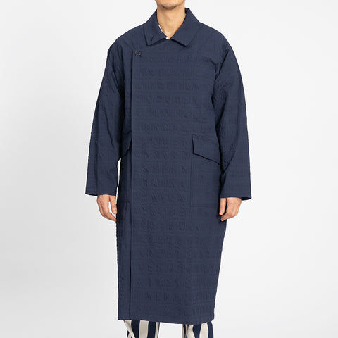 Puckered Navy Blue Ember Trench Coat