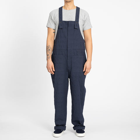 Puckered Navy Blue Overall