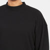 Ribbed Mock Neck Long Sleeve T-Shirt - Black
