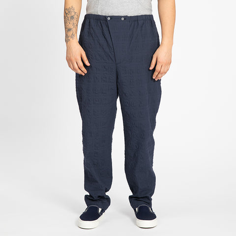 Puckered Navy Blue Rem Pant