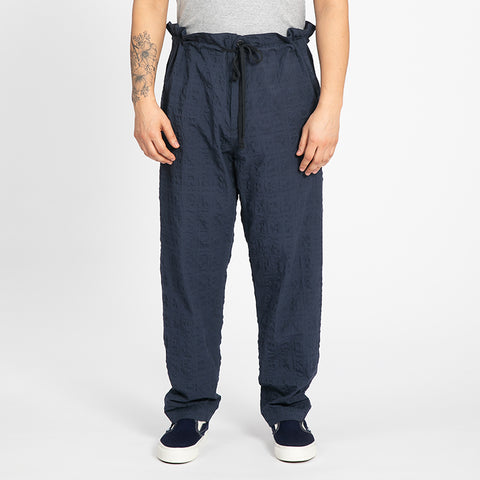 Puckered Navy Blue Pull Pant