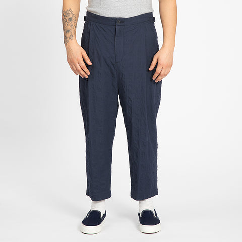 Puckered Navy Blue Su Pant