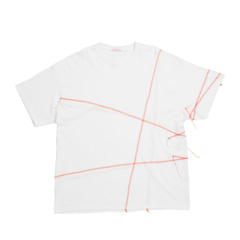 Cover Stitch T-Shirt - White w/ Orange