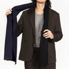 Two-Tone Patch Scarf - Black & Navy Wool / Cotton
