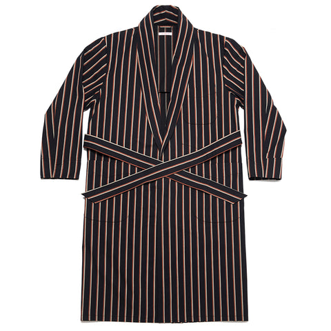 Dynasty Robe - Navy/Orange Stripe