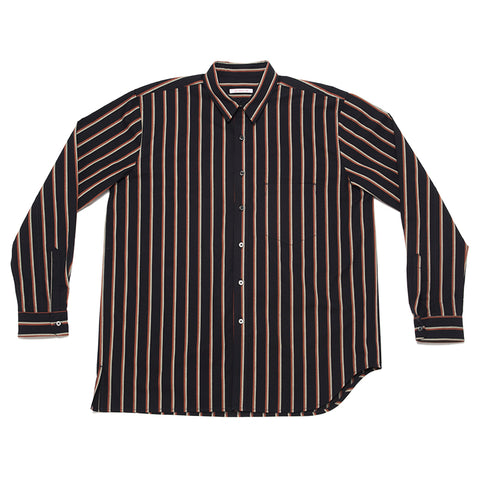 Egon Shirt - Navy/Orange Stripe Shirt