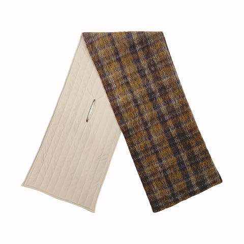 Combo Scarf - Mohair Plaid & Tan (Recycled Nylon)