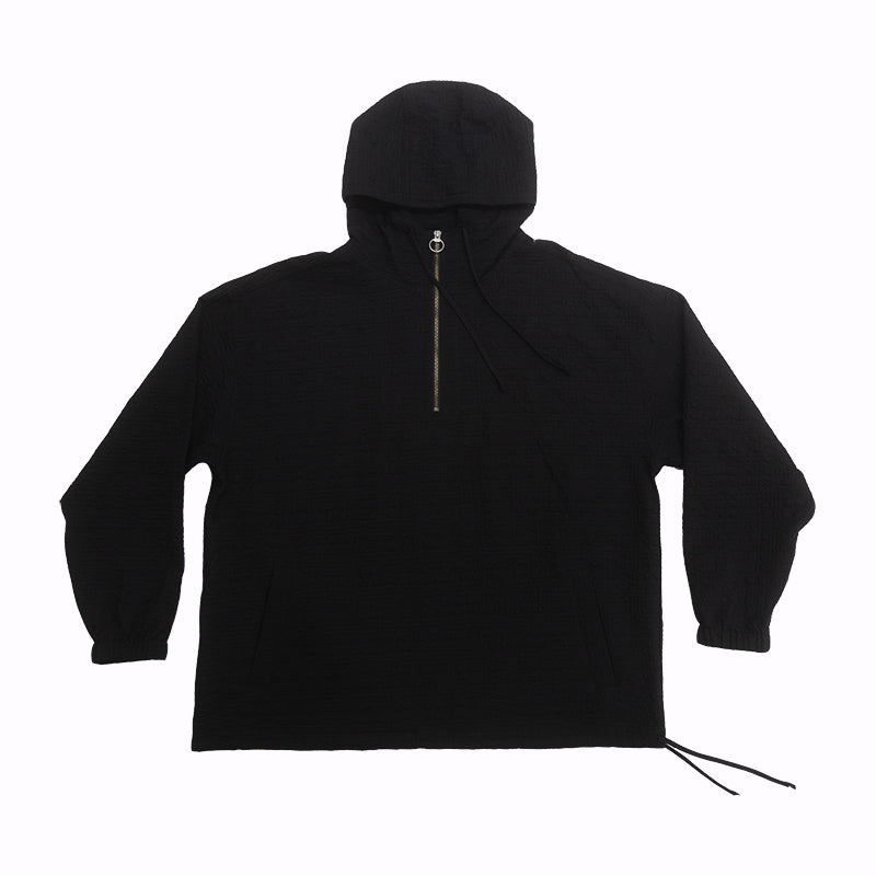Pod Pullover Jacket - Black Puckered