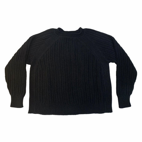 Raglan Crewneck Sweater - Black