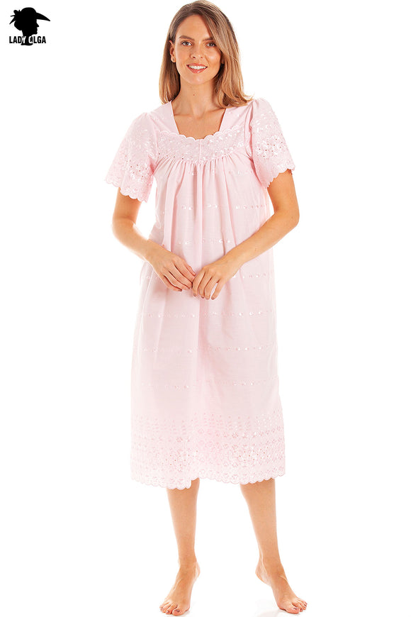 Ladies Square Neck Embroidery Anglaise Nightdress by Lady Olga