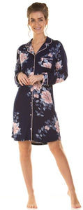 La Marquise Japanese Garden Soft Touch Long Sleeve Button up Nightshirt