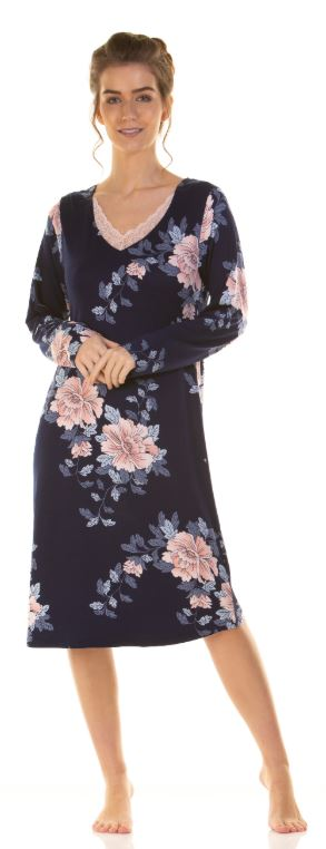 La Marquise Japanese Garden Soft Touch Long Sleeve Nightdress