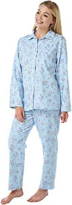 Ladies 100% Brushed Cotton Winceyette Pyjamas. Blue Floral Print.