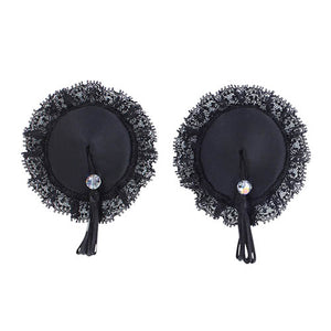 Valsiere Tabu Stick on nipple pasties black satin with lace