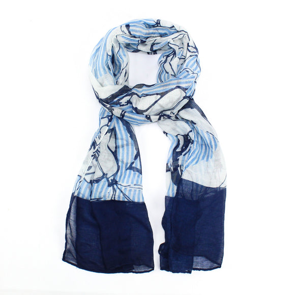 Nautical look Scarf in Blue & White