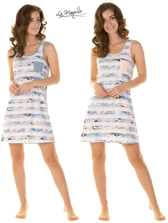 Mineral Stripe Sleeveless Nightdresses By La Marquise
