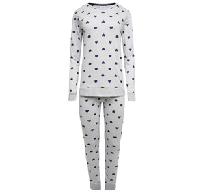 Suzy & Me Womens Cotton Rich Heart Design Pull On Jersey Pyjamas with cuff leg bottom