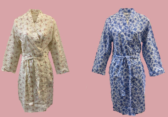 Inspirations Cotton Blend Floral Wrapover Dressing Gown Robe