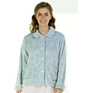 LA MARQUISE LADIES COMFY LEAVES SUPERSOFT FLEECE BUTTON BED JACKET.