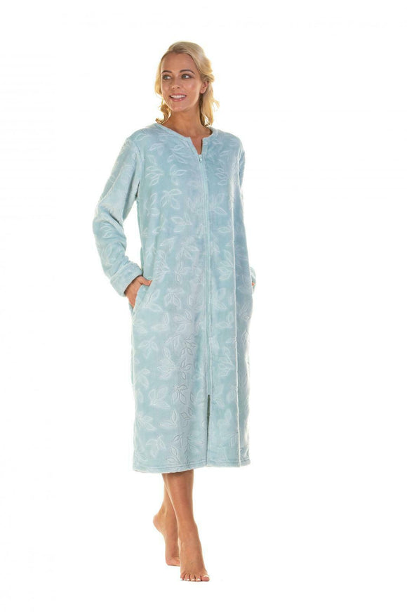 Ladies Super soft Comfy leaves pattern zip through Housecoat/ Dressing Gown by La Marquise