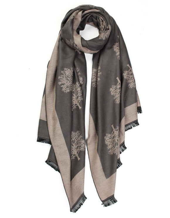 grey soft touch winter scarf with cashmere