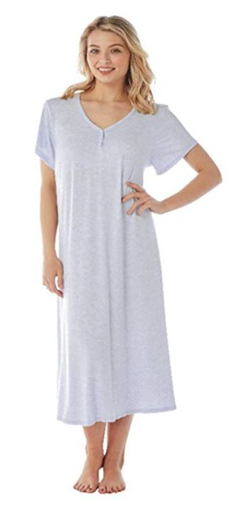 Indigo Sky Ladies Nightdress Short Sleeves Long Length Grey up to size 32
