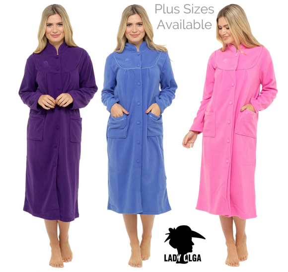 Lady Olga Fleece Button Through Dressing Gown