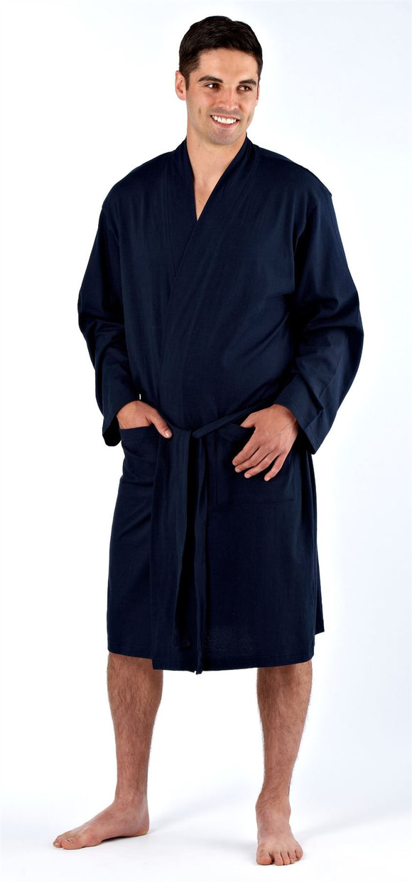 Harvey James Men's Kimono Wraparound Gown 100% Cotton Medium
