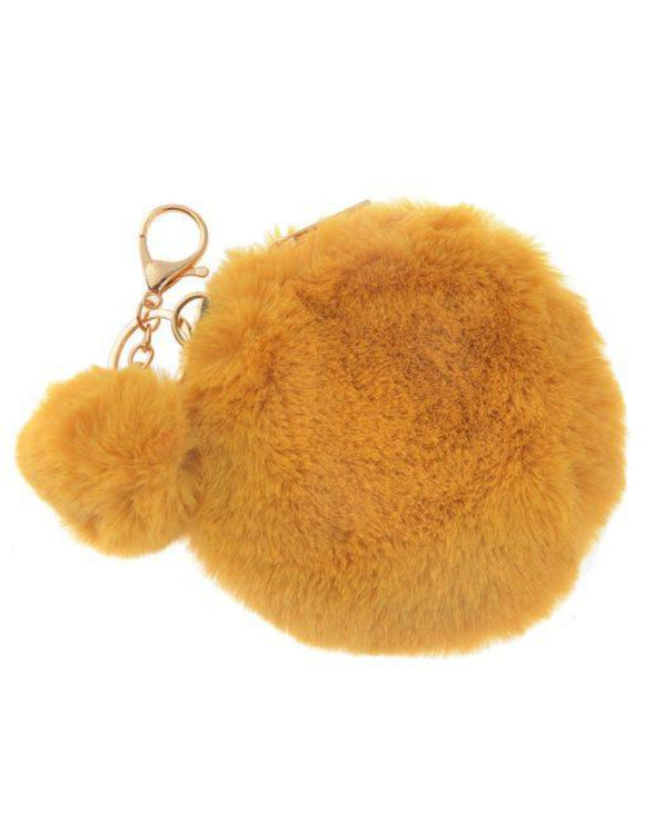small round mustard yellow pom pom coin purse