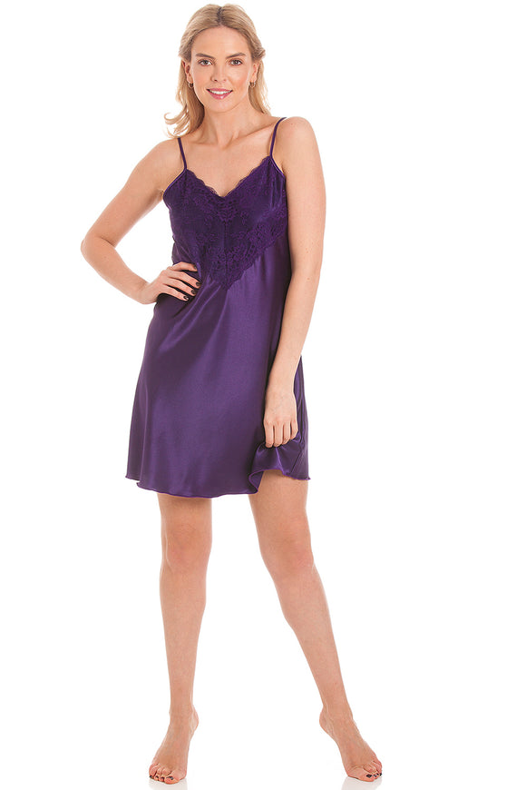 English Made Satin Short Nightdress with deep lace detail N48
