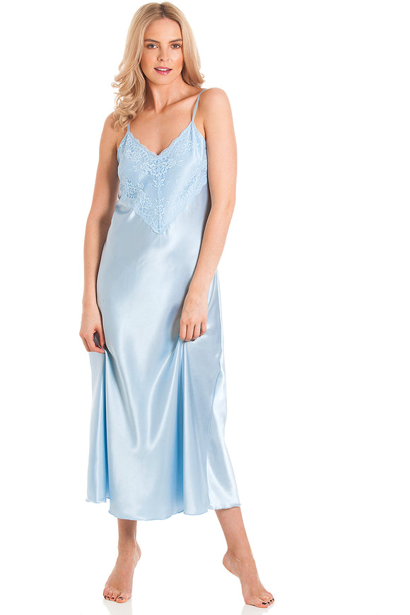 English Made Satin Strappy Long Nightdress with deep lace detail