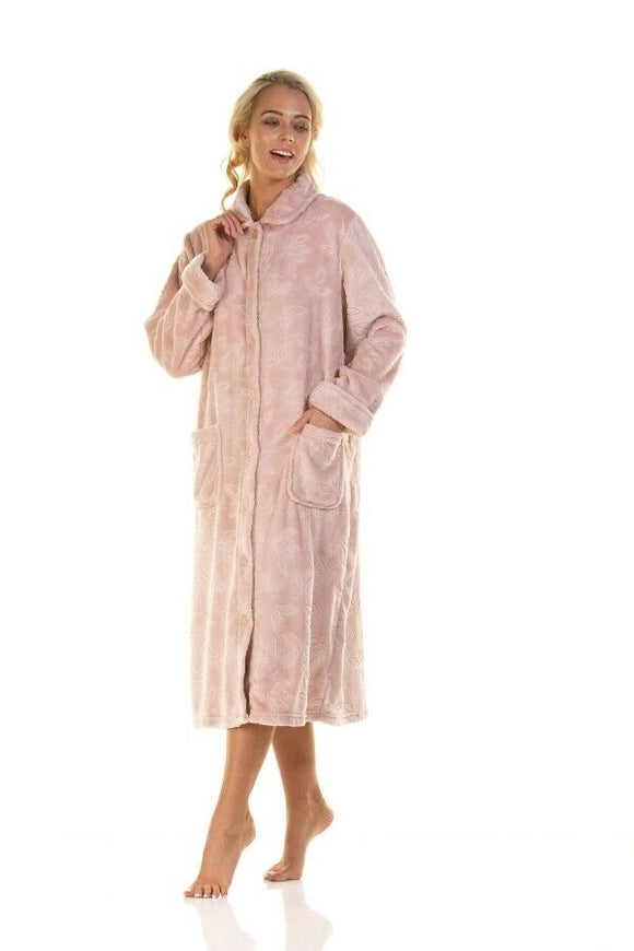 Ladies La Marquise Super soft Comfy leaves pattern button through Housecoat/ Dressing Gown