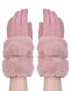 pink faux fur and band glove with small bow