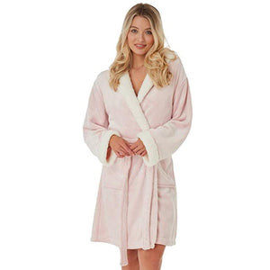 Indigo Sky Ladies Fleece Sherpa Hooded Robe Pink