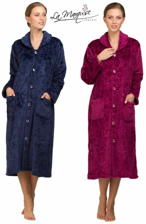 Lady Olga Cosy Fleece Button Through Gown, Robe, Housecoat Blue Only 10-12