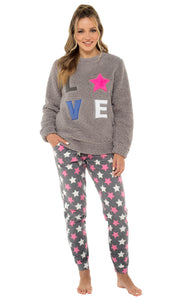 Ladies Star Appliqué Fleece Pyjama set