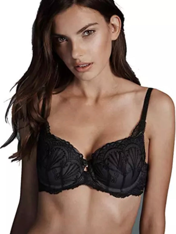 Famous Make Embroidered Padded Balcony Bra Underwired
