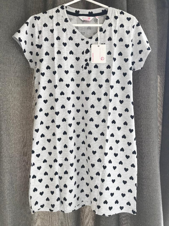 Short Sleeve Grey Heart Print Pretty Nighty 8-10