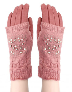 Pearl Knitted Covered Suede Glove