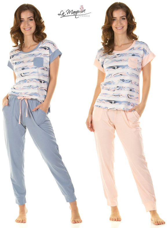 Mineral Stripe Short Sleeved Pyjamas By La Marquise