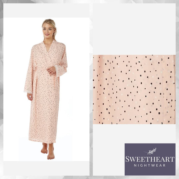 Elegant Ladies Peach Dot Wraparound Dressing Gown Long Length