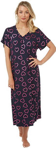 Long Length Pretty Short Sleeve Heart Nightdress V Neck